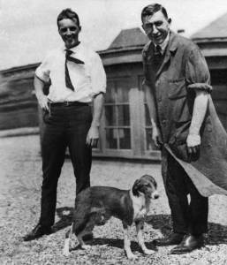 Charles H Best and Frederick G Banting on the roof of the Medical Building, University of Toronto, ca. 1922
