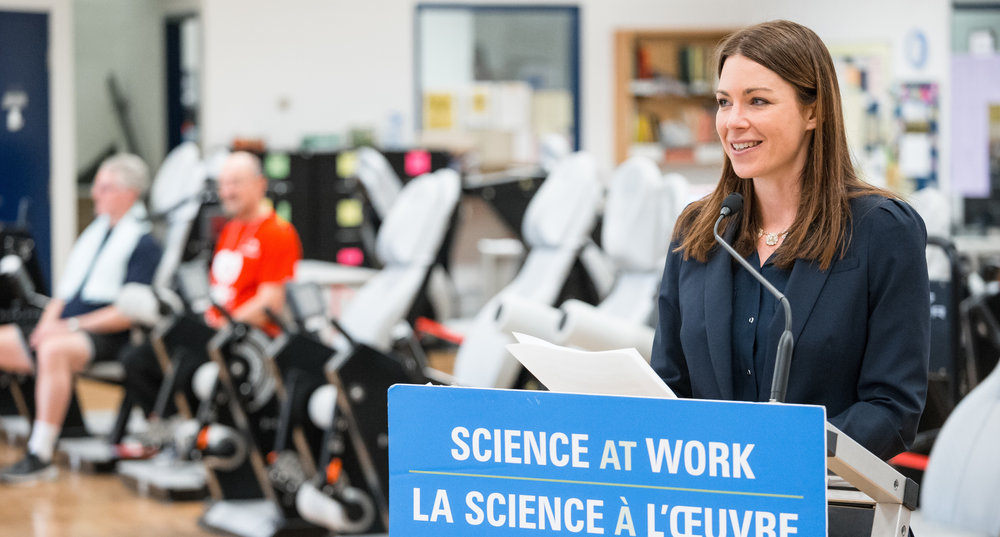 Jennifer Heisz talks about her research at a recent Canadian Foundation for Innovation funding announcement (Photo: Ron Scheffler)