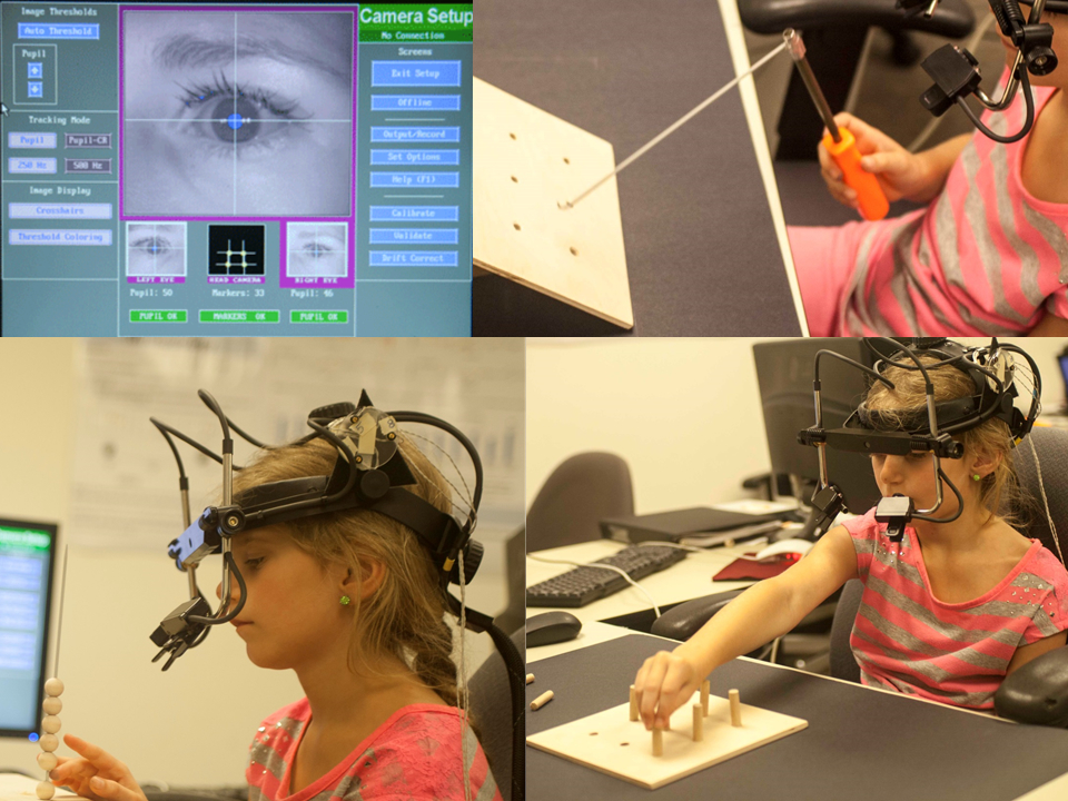 A young research subject performs motor tasks while her eye and hand movements are recorded. The analysis of kinematic trajectories will provide insight into the development of hand-eye coordination.