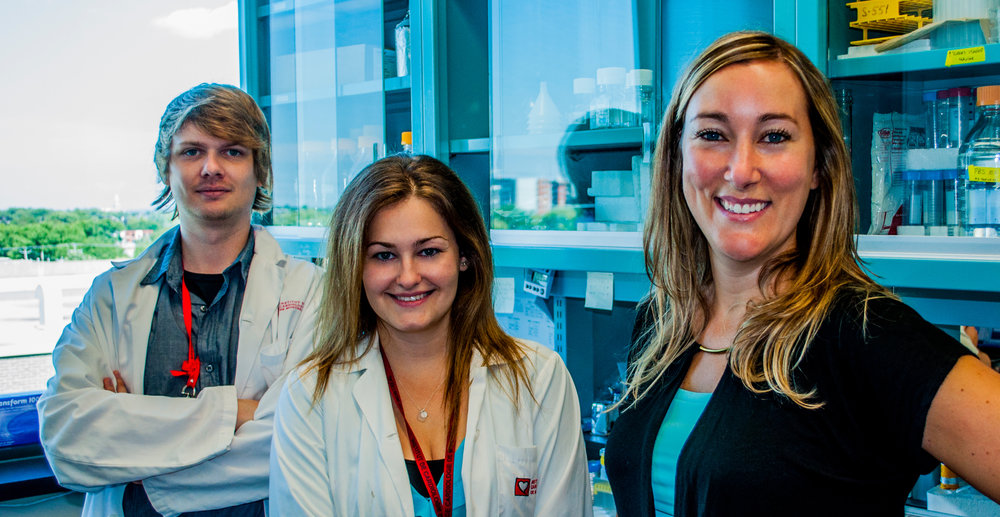 Martel lab group, left to right, François Dallaire, Andreea Milasan, Catherine Martel (Photo: Jonathan B. Béland)